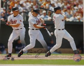 Cal Ripken Jr Signed Baltimore Orioles 8x10 Batting Photo Collage Ironclad