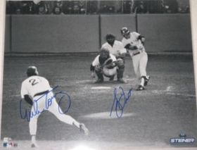 Bucky Dent Mike Torrez Dual Signed Yankee 16X20 Over Green Monster Photo Steiner