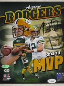 Aaron Rodgers Signed Green Bay Packers XLV MVP 8X10 Photo Steiner Hologram