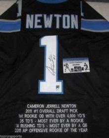 Cam Newton Signed Carolina Panthers Custom Stat Jersey Size XL GTSM COA