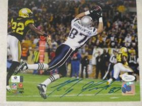 Rob Gronkowski Signed New England Patriots 8x10 Action Photo JSA coa