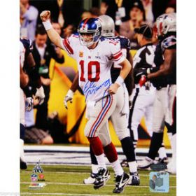 Eli Manning Signed NY Giants Super Bowl XVLI 8X10 Photo Steiner coa