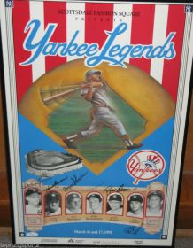 Yankees Framed Poster Signed x6 Whitey Ford, Hank Bauer, Don Larson,Moose Skowron, Bobby Richardson James Spence