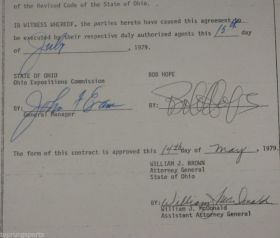 Bob Hope Signed Contract Page From 1979 James Spence James Spence
