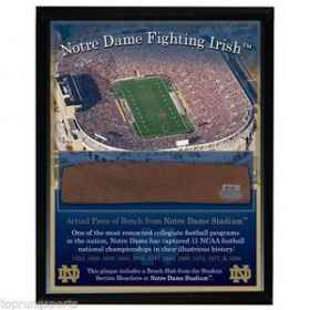 Notre Dame Fighting Irish Game Used Bench Slab 8x10 Plaque Steiner Sports coa