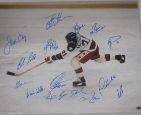 1980 USA Olympic Gold Hockey Team Signed 16x20 Photo x15 Miracle on Ice Schwartz Sports