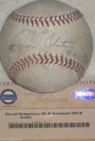 David Robertson Signed Angels @ Yankees 5-12-13 Game Used Baseball Steiner coa
