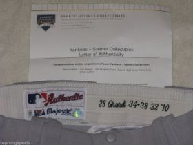 Joe Girardi #28 2010 Yankees Game Issued Major League Baseball Pants.