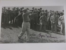 Byron Nelson Signed 8x10 Action Photo Died 2006 52 PGA Wins James Spence