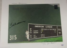 Ted Williams Signed Red Sox Green Monster 16x20 Litho Williams & PSA/DNA coa