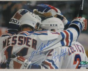 Mark Messier Brian Leetch Dual Signed Rangers 8x10 NHL Photo Steiner Sports