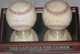 Derek Jeter and Mariano Rivera NY Yankees (2) Signed Game Used Baseballs Steiner Sports