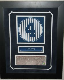 Lou Gehrig Yankees Framed Retired Number & Monument Park Brick Slice