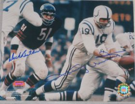 Johnny Unitas & Dick Butkis Dual Signed Bears Colts 8x10 Photo Mounted Memories