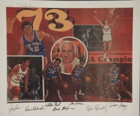 1973 NBA Champs NY Knicks Signed x7 LE Lithograph JSA loa Reed Frazier Monroe James Spence