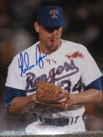 Nolan Ryan Signed Texas Rangers 8X10 Blood Photo Ryan Hologram