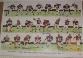 1964 Cleveland Browns Team Signed 24x34 Print by 8 Players Including Jim Brown Tracercode hologram
