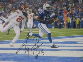 TY Hilton Signed Indianapolis Colts 8x10 NFL Action Photo Schwartz coa