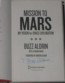 NASA Astronaut Buzz Aldrin Signed Mission to Mars Book James Spence