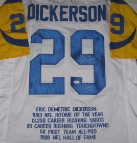 "Eric Dickerson Signed Rams ""HOF 99"" Stat Jersey James Spence"