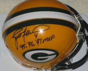 "Brett Favre Signed Green Bay Packers ""95,96,97,MVP"" Inscribed Mini Helmet"