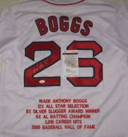 Wade Boggs Signed Boston Red Sox HOF 05 Inscribed Custom Stat Jersey JSA